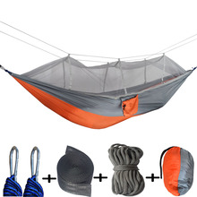 Newest Fashion Handy Hammock Single Person Portable Parachute Fabric Mosquito Net Hammock for Indoor Outdoor Camping Using