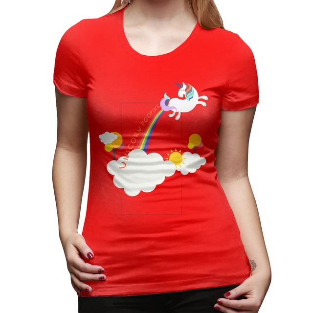 Été sexy fille à manches courtes Couple drôle mignon licorne caca magique arc-en-ciel imprimé femmes T-shirt femmes hauts vêtements kpop