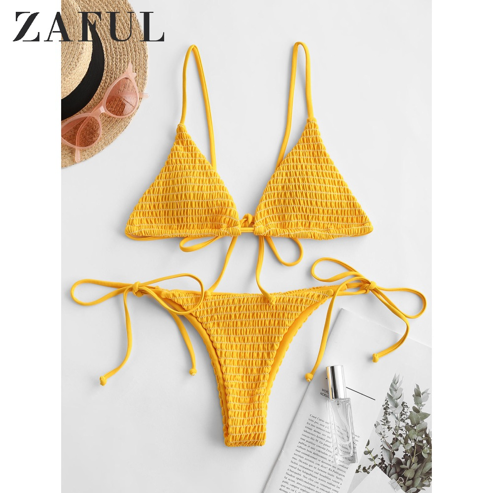 ZAFUL Bee Yellow Women Shirred Tie Side Cami Bikini Swimwear Spaghetti Straps Low Waisted Smocked Bikini Sexy Padded Swimsuit