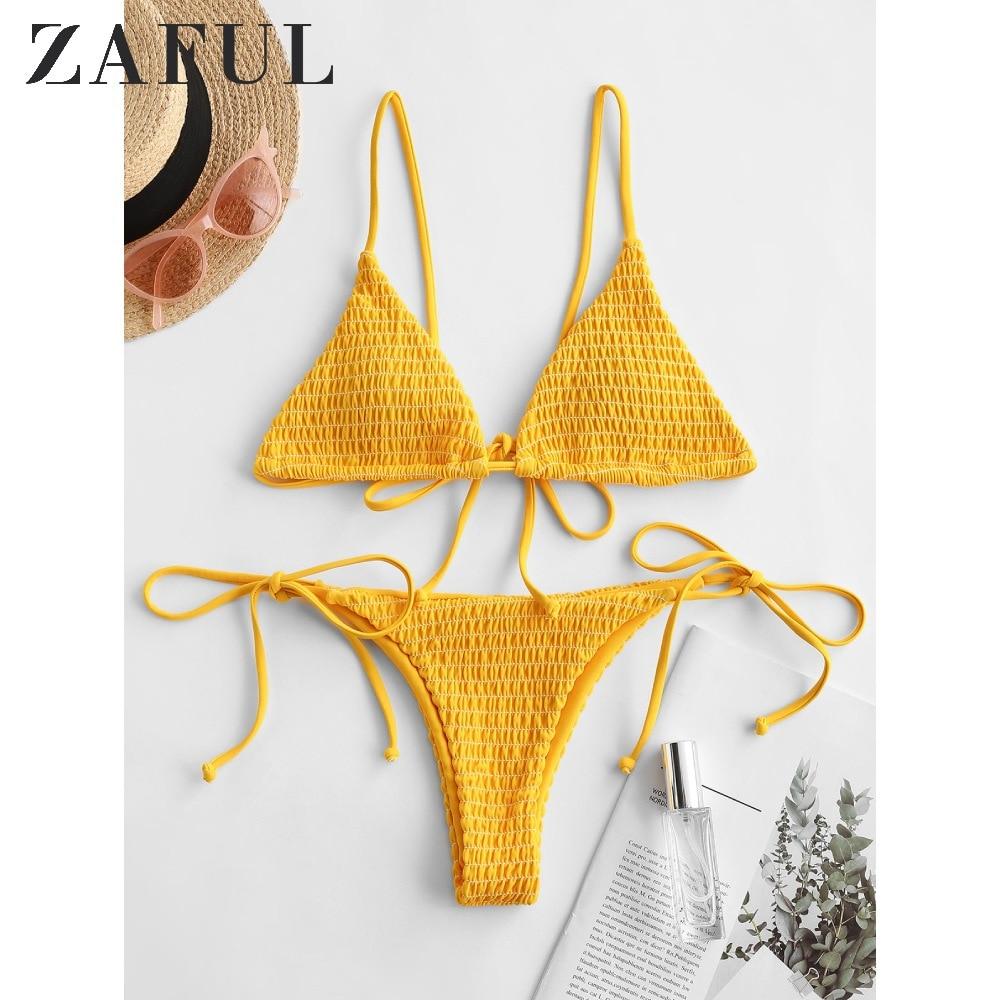 ZAFUL Bee Yellow Women Shirred Tie Side Cami Bikini Swimwear Spaghetti Straps Low Waisted Smocked Bikini Sexy Padded Swimsuit