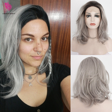 Fantasy Beauty Ombre Grey Synthetic Lace Front Wigs Bob Dark Roots 2 Tones Silve