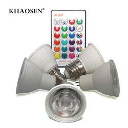 Светодиодный ночник E27 E14 GU10 RGB, теплый белый, 110 В 220 в 85-265 в, 16 цветов, волшебный светодиодный светильник, сценический светильник с регулируем...
