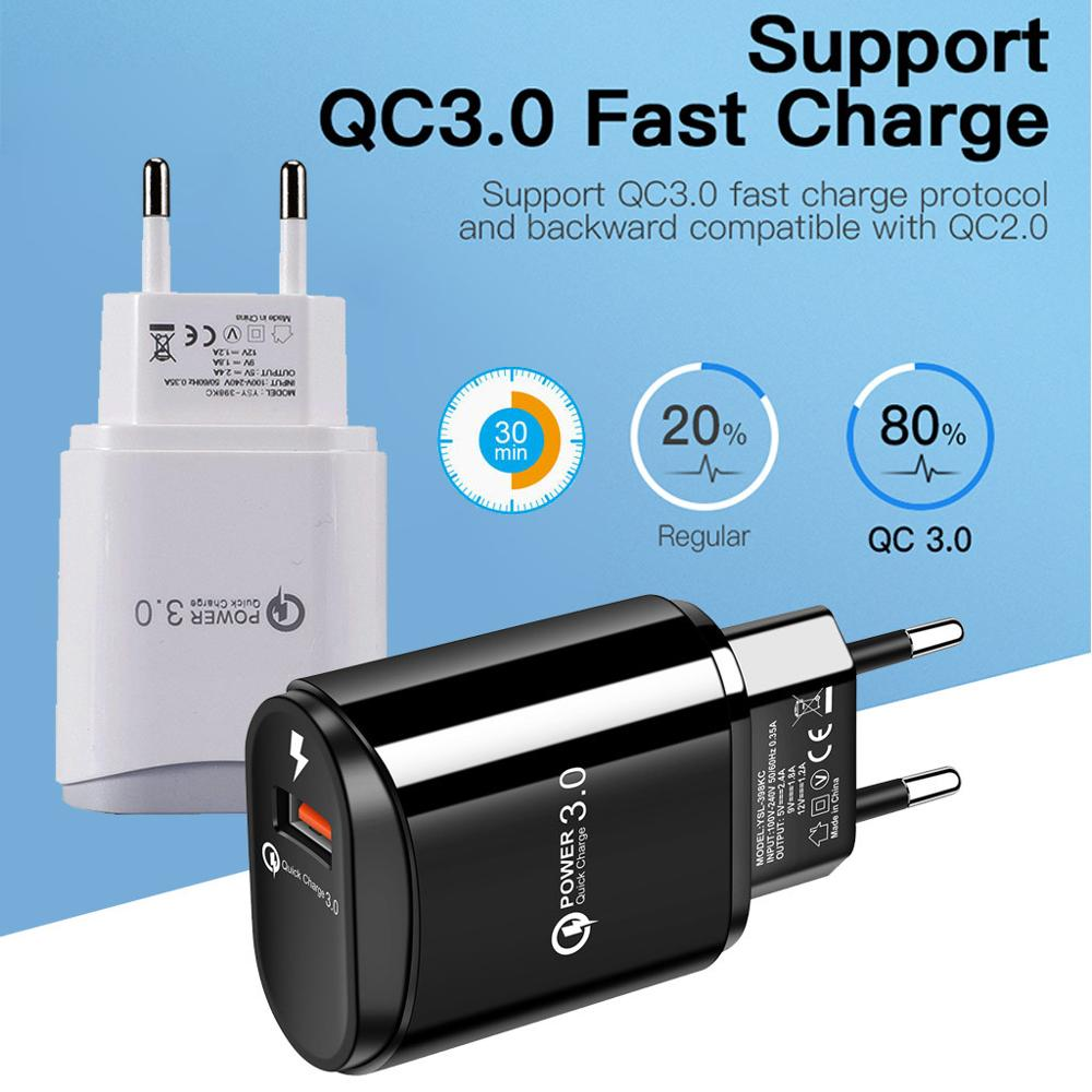 Feniores Note10+ Plus QC3.0 USB Port Charger Fast Charge EU <font><b>Plug</b></font> Wall <font><b>Adapter</b></font> Mobile Universal Charging For <font><b>Samsung</b></font> For iPhone image