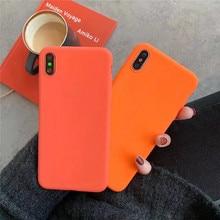 Carcasa coreana teléfono Simple naranja Retro para iPhone 11 Pro Max 6 6S 7 8 Puls X XS fundas Max XR mate textura suave cubierta de silicona