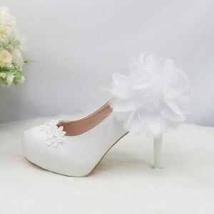 Image 5 - Lot de chaussures de mariage pour femmes, couleur rouge, chaussures de mariée à talons hauts à plateforme, semelle rouge 8cm/11cm/14cm, nouveauté