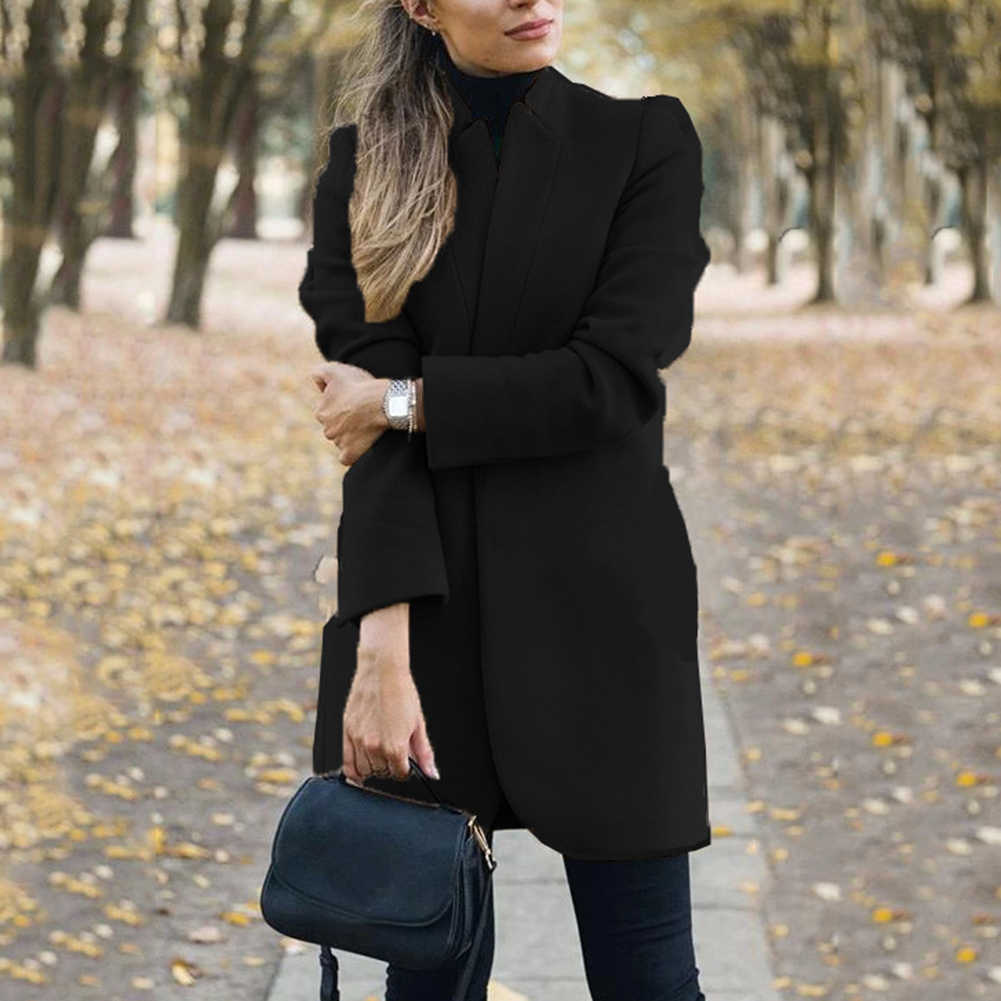 Kantor Wanita Musim Gugur Musim Dingin Wanita Jaket Campuran Warna Solid Berdiri Kerah Wanita Campuran Jaket Wol Panjang Mantel Plus Ukuran Cardigan