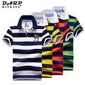 Рубашка-поло мужская хлопковая в полоску, модная деловая, повседневная с вышивкой, большие размеры, лето 2021