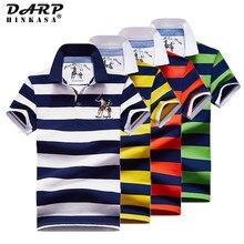 Stripe Polo Camisa de Algodão Dos Homens de Negócios de Moda Polo Homens 2021 Verão Nova Dos Homens Do Polo Ocasional Bordado Camisa Pólo Homens Tamanho Grande