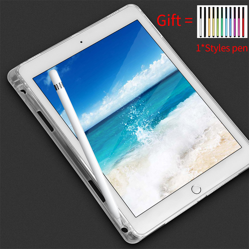 Transparent Case With Pencil Holder For New IPad 2018 2017 Air 2 1 Pro 9.7 Inch Rubber Clear Cover Tablet Soft Silicone Case