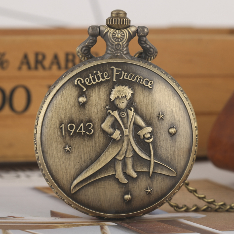 Hot Selling Classic The Little Prince Movie Planet Blue Bronze Vintage Quartz Pocket FOB Watch Popular Gifts for Boys Girls Kids 2019 2020 2021 2022 2023 (6)