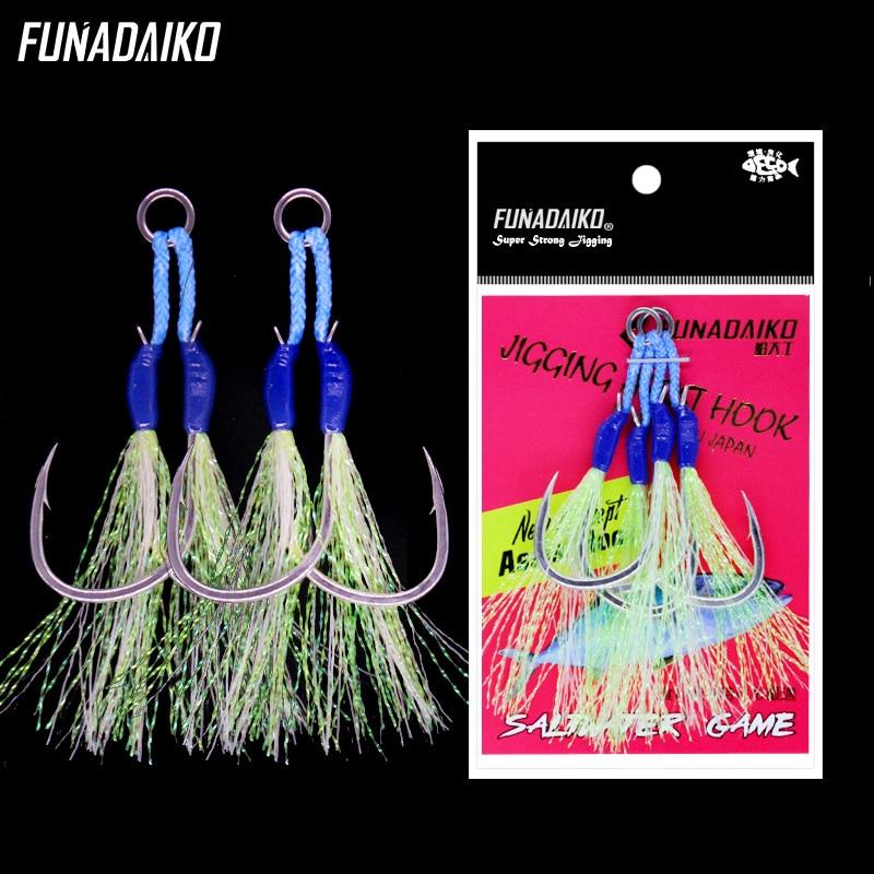 FUNADAIKO New Fishing Assist Hook Seafishing Slow Jig Double Hooks Luminous Artificial Lure Hooks 1/0 2/0 3/0 4/0 Jigging Hook