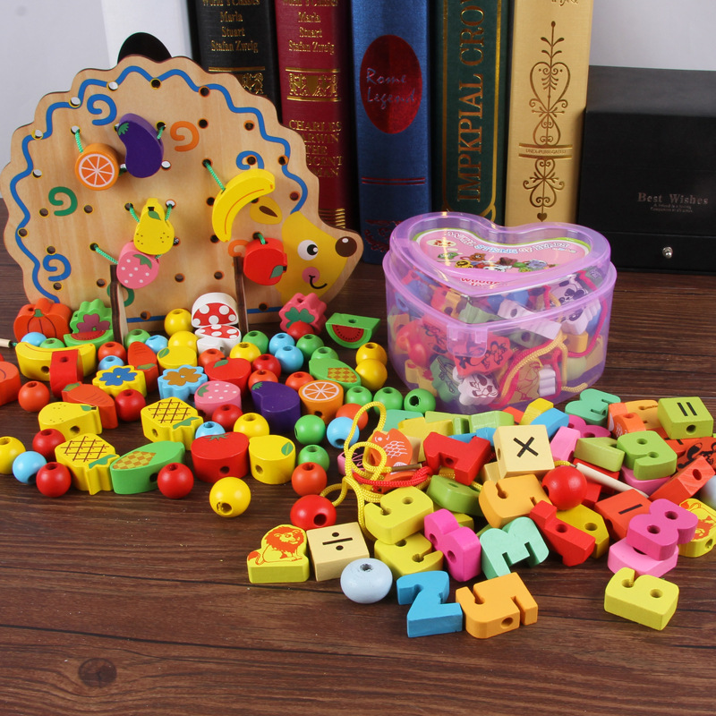 Children Early Education Chuan Zhu Educational Threading Motion Baby Wear Beads Fine Building Blocks Training Toy 1-3-6-Year-Old