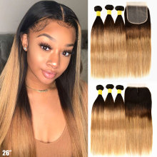 Hair-Bundles Closure Human-Hair Honey-Blonde Straight Brazilian Ombre with Remy 3