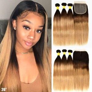 Image 1 - Mel loira ombre pacotes de cabelo em linha reta com fechamento do cabelo humano 3 4 pacotes com fechamento remy tecer cabelo brasileiro pacotes