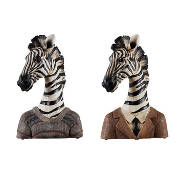 Country Style Animal Gentleman Character Home Decoration Ornamant Miniature Model Sculpture Resin Zebra Figurines Office Decor