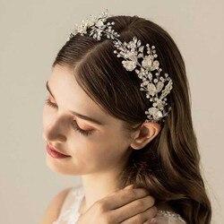 Women Silver Leaf Rhinestones Heabdand Wedding Hair Jewelry Bridal Hair Accessories for Bride Women