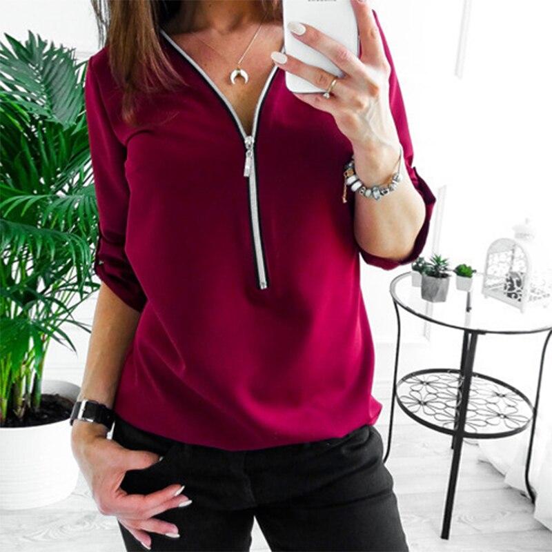 Sexy V Collar Zipper Roll Up Long Sleeves Loose Solid Shirt Women Chiffon Blouse Tops Spring Summer Blusa Feminina Plus Size 3XL(China)