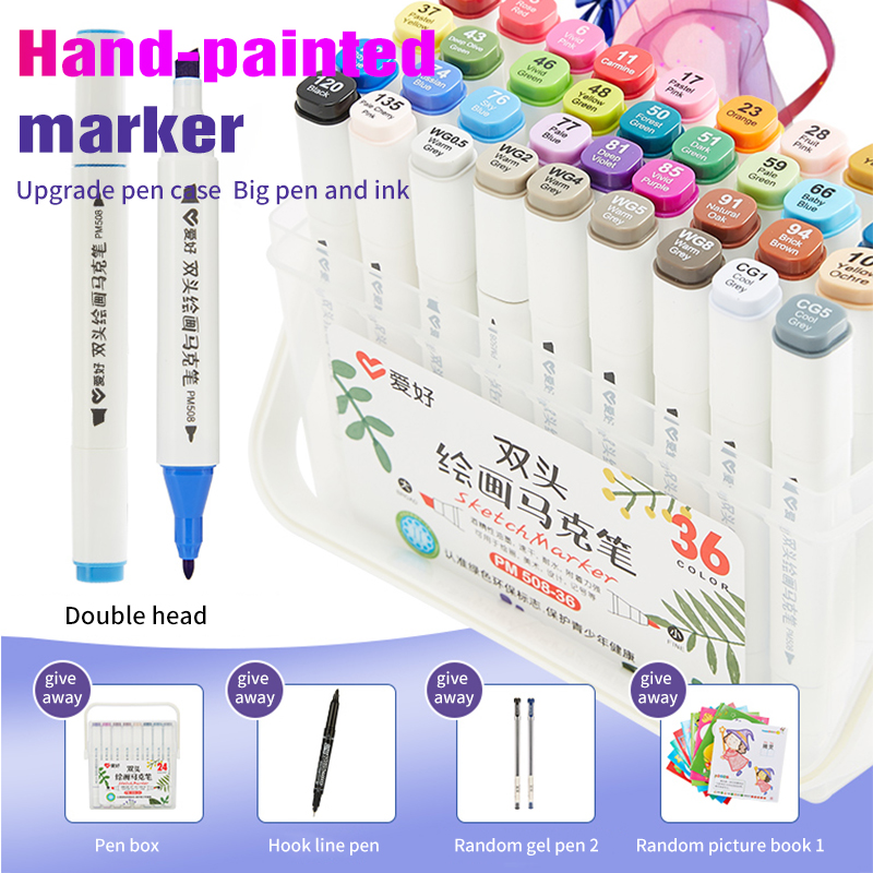 24/36/48/60 Color Markers Manga Drawing Markers Pen Alcohol Based Sketch Oily Dual Brush Pen Art Supplies|Art Markers| |  - title=
