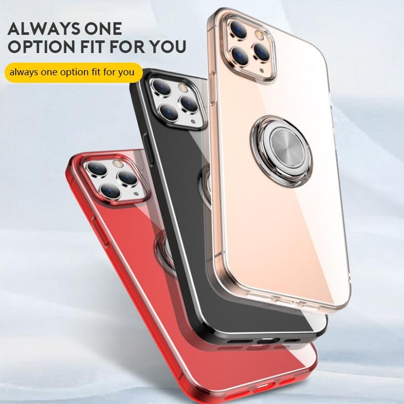 Пальца кольцо кронштейн Прозрачный чехол для мобильного телефона для iphone 12 11 Pro Max X XS Max XR 8 7 Plus Чехол ударопрочный чехол-накладка из ТПУ класс...