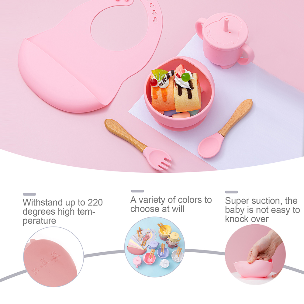 5 Pcs set Silicone Bowl Bibs cup Sets Baby BPA Free Waterproof Spoon NonSlip Feedings Silicone Bowl Tableware Baby Products 3