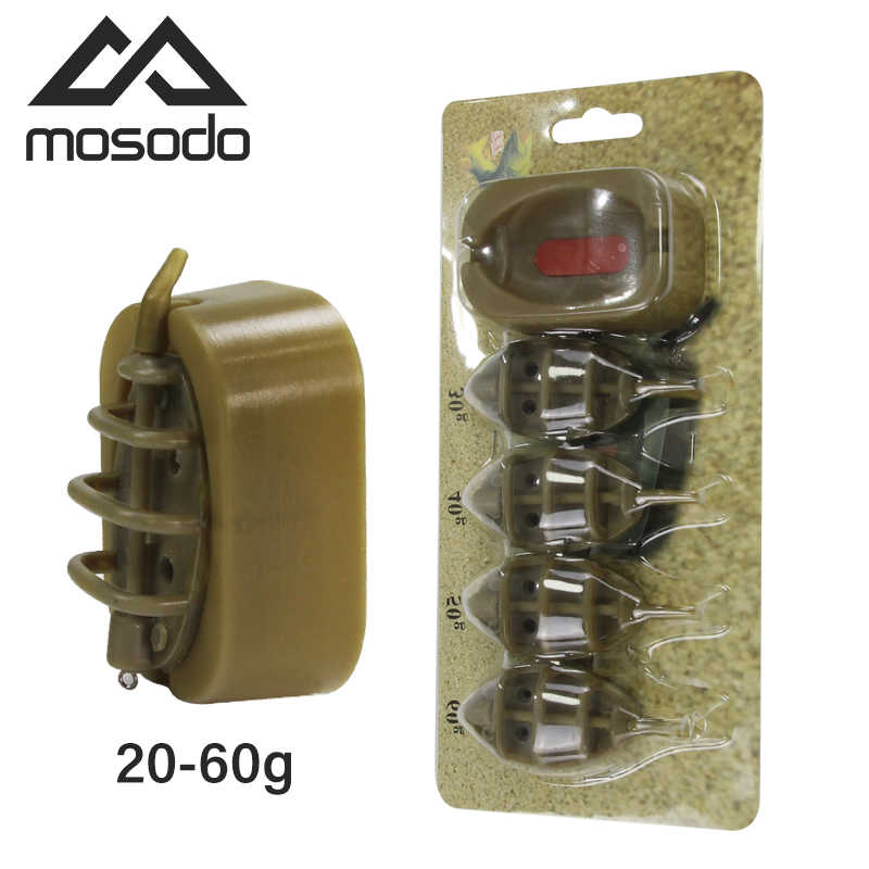 Mosodo Carp Fishing Method Feeder Mould 15g 20g 25g 35g 30g 40g 50g 60g Inline Feeders High Capacity lead sinker Bait Thrower