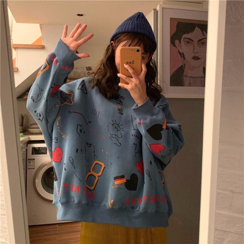 Doodle Printing Women Round Neck Harajuku Hoodies Loose Pullover Oversize Sweatshirt Casual Streetwear Korean Style Rz*