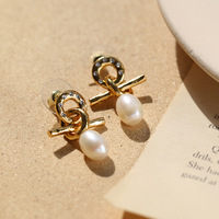 European and American bronze knotted Pearl Earrings female French retro elegant baroque pearl earrings earrings