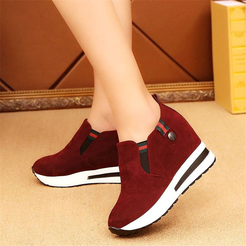 2020 Hot Flock New High Heel Lady Casual Black/ 3CM Women Sneakers Leisure Platform Shoes Breathable Height Increasing Shoes