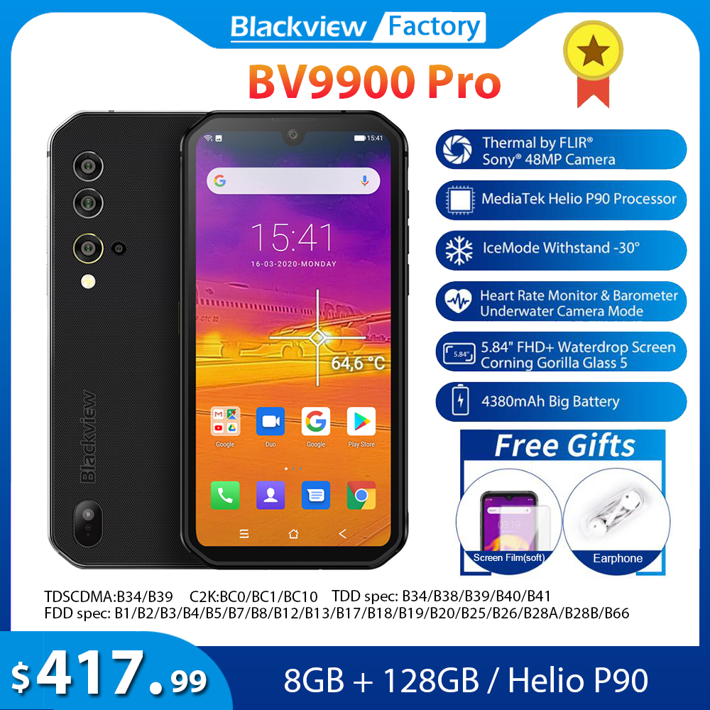 Blackview BV9900 Pro Термальность изображение мобильного телефона 8 гб + 128 гб Helio P90 смартфон на базе восьмиядерного процессора 48MP Quad Camera IP68 прочный те...