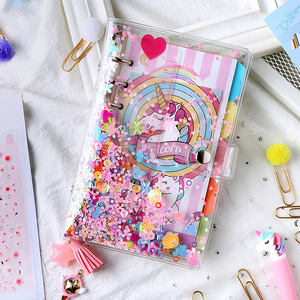 A5 A6 PVC Bead Transparent Notebook DIY diary Cover Glitter Loose leaf Note Book Planners Clip Office Supplies Journal
