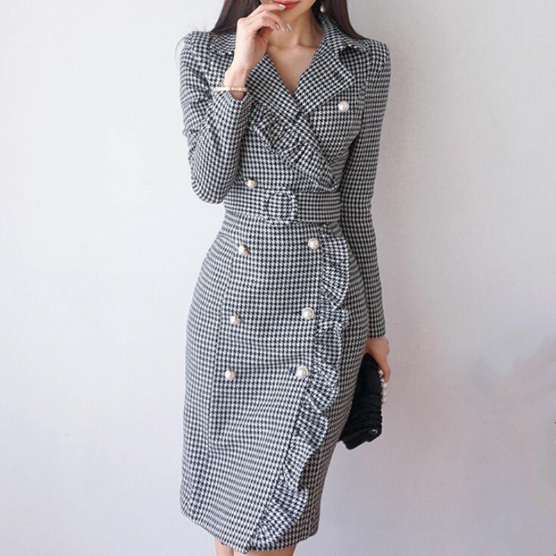 Vintage Double Breasted Plaid Long Blazer Dress Ladies Office Wear Suit Jacket Slim Bodycon Houndstooth Midi Dresses Female 2020
