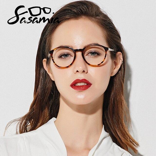 SASAMIA gözlük yuvarlak Retro Demi gözlük kadın optik daire gözlük çerçeve Vintage asetat gözlük çerçeveleri kadin Trends