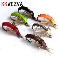 KKWEZVA 18 adet renkli silikon malzeme batan Nymph Scud Fly Bug sonsuz alabalık balıkçılık uçar yapay böcek balıkçılık yem yem