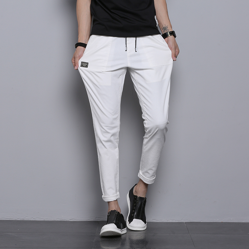 Casual Slim Fit Men Pants Solid Washed Drawstring Cotton Pants Man White Black Gray Army Green Quality Stretch Trousers Male