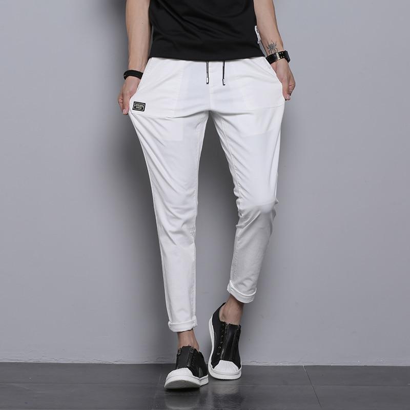 White Cotton Men Pants Solid Washed Long Casual Slim Fit Pantalones Hombre Breathable Stretch Streetwear Black Trousers Men Sale