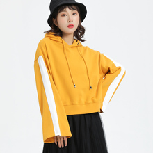 Jvzkass new hooded womens fashion short slim pullover Korean version of the trumpet sleeves cartoon pattern sweatshirt Z318