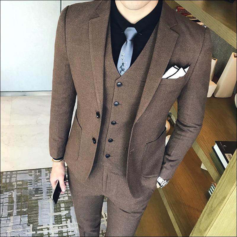 Autumn Costume Homme Prom Suit Mens Smoking Homme Mariage Designer Suits Business Ternos Para Hombre Formal Anzug 3-piece Set