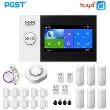 Pgst pg107 tuya sistema de alarme 4.3 polegada tela wifi gsm gprs assaltante segurança em casa com pir sensor movimento detector fumaça incêndio