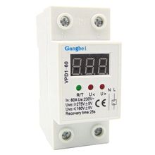цена на 2P 60A 220V automatic reconnect over voltage and under voltage protection protective device relay with Voltmeter voltage monitor