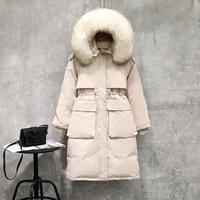 Large Real Sash Tie Up Long Down Paaded Jacket Winter Women Duck Down Paaded Parka Solid Warm Loose Thick Fur Collar Coat