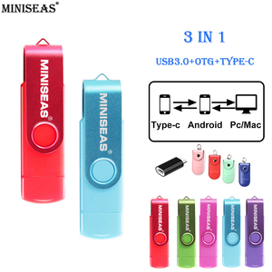 Miniseas usb 3.0 OTG 64GB Pen Drive USB Flash Drive Type C External Storage Memory Stick 32GB 16GB Micro USB Stick Pendrive