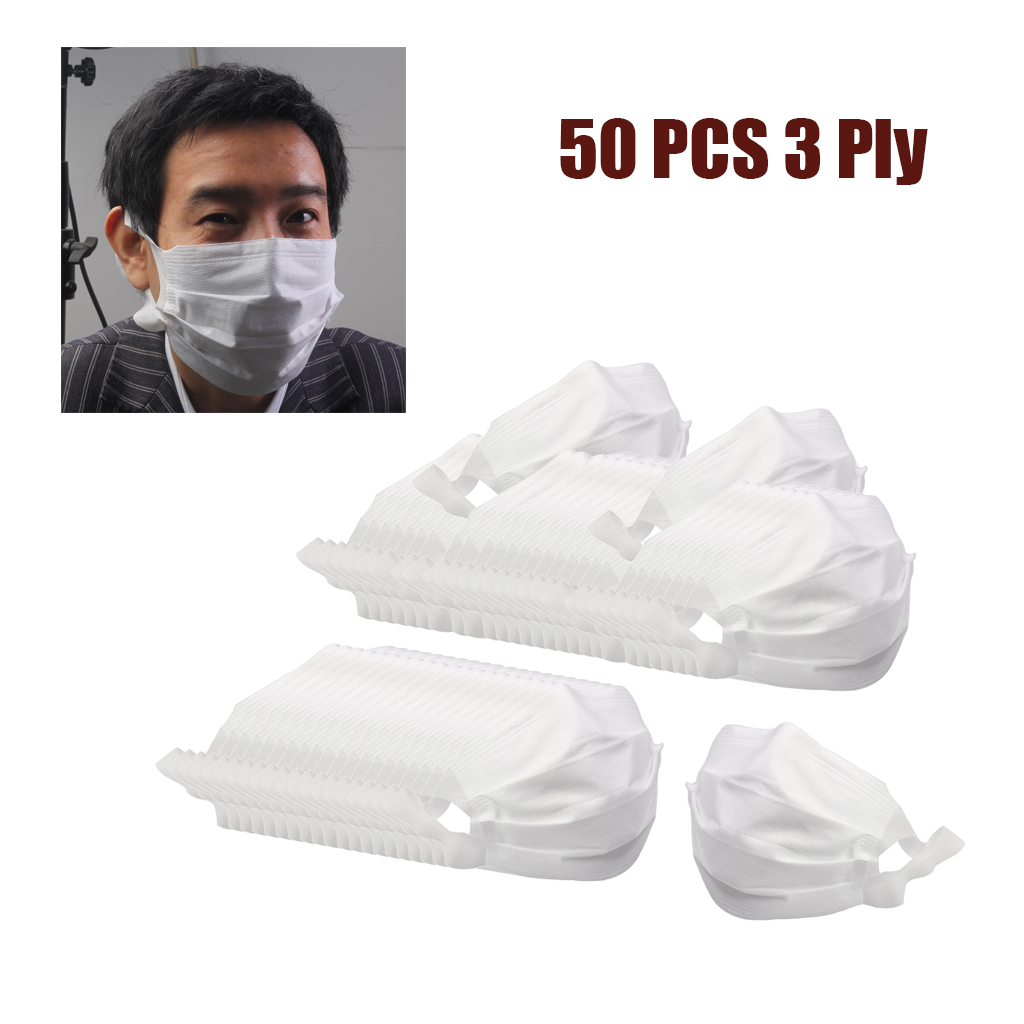 Set of 50 Disposable Face Mouth Mask Breathable Dustproof Anti-Saliva Mask