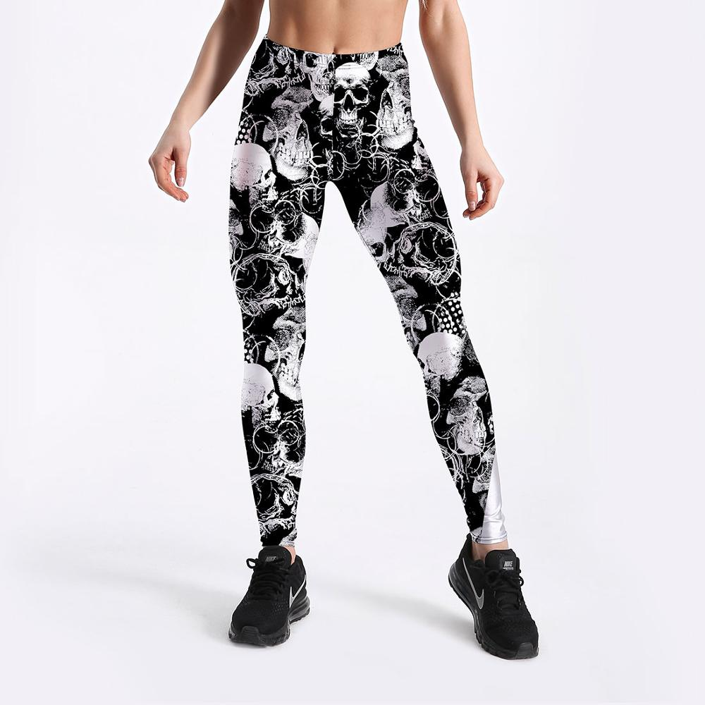 Women Fitness Leggings Casual Workout Pants Pencil Stretchy Trousers Gradient Legging Skinny Leggins Black Skull Printed Legging