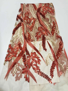 Latest Style African Lace Fabric 2019 High Quality Lace Fashion French Lace Fabric Tulle Nigerian Sequin Lace Fabrics CD32321