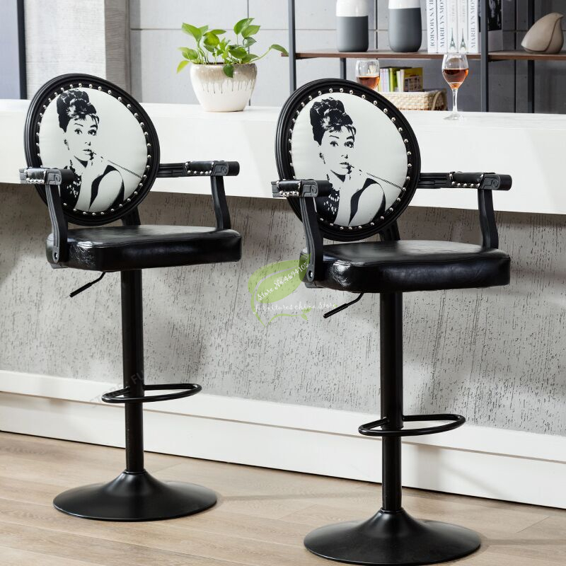 Modern Bar Stool  Tabouret De Bar Chair  With Handle Make Up Chair Beauty Salon Furniture Commecial