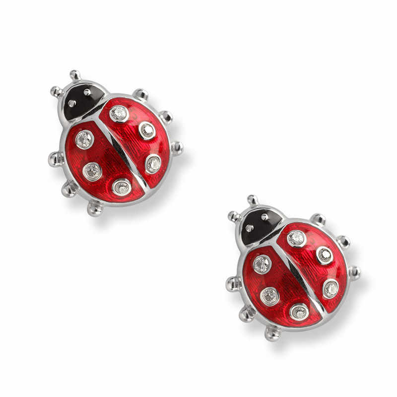 Fashion 925 Sterling Silver Earrings Children Jewelry Red Enamel Animal Ladybug Small Stud Earrings For Kids Girls Baby Jewelry