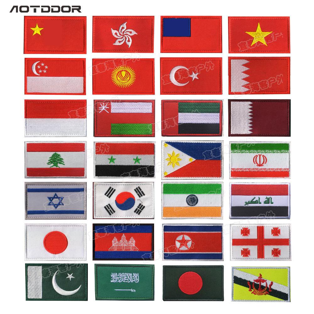 Asia Flag Japan Singapore South Korea Turkey India Morale Patch Cloth Label Pack Posted Embroidered Armband Velcro