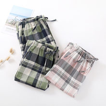 Fdfklak – pantalon de nuit en coton pour femme, bas de Pyjama à carreaux pour Couple, Pyjama, collection printemps et été