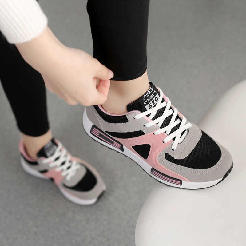 Sneakers women shoes 2020 solid breathable mesh casual shoes woman lace up  autumn ladies shoes women sneakers zapatos de mujer|Running Shoes| -  AliExpress
