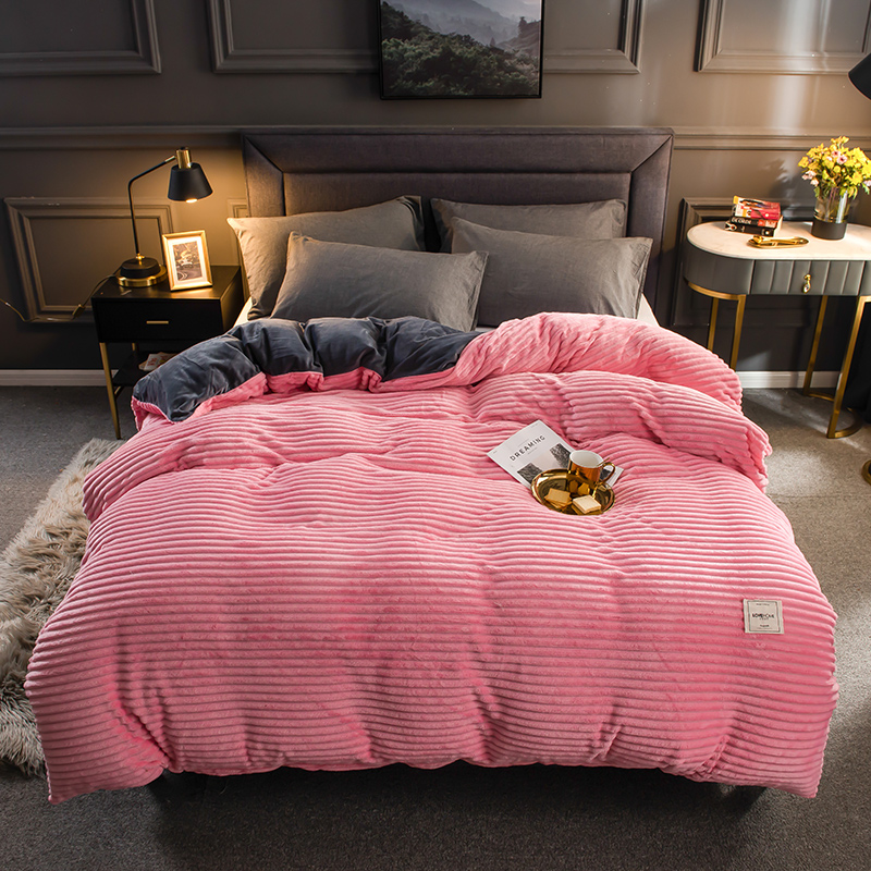 Thick Coral Velvet Solid Stripe Bedding Set Winter Warm Flannel Duvet Cover Bed Fitted Sheet Pillowcases Single Product